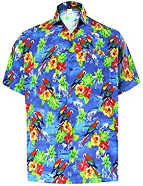 *La Leela* Palma Pappagallo Floreale Casuale buttotn Giù Manica Corta Camicia Hawaiana Uomini