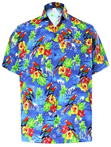 *la leela* palma pappagallo floreale casuale buttotn giù manica corta hawaiano camicia blu degli uomini s