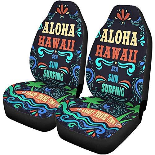 Xiaoyinghua Autositzbezüge Ethnische Aloha Hawaii Vintage Schriftzug Insel Inspirierend und Motivierend Autozubehör Protektoren Car Decor Universal