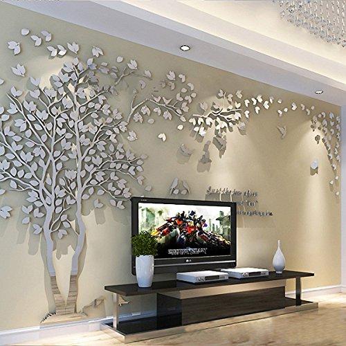 3D Riesige Paar Baum DIY Wandaufkleber Kristall Acryl Wandtattoos Wandmalereien Kinderzimmer Wohnzimmer Schlafzimmer TV Hintergrund Home Dekorationen Kunst (Silber-Links, M) (Dekorationen Home-wohnzimmer)