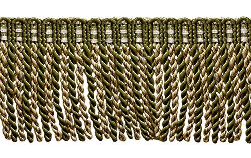 4,9 m Lot de 7,6 cm de long lingot Frange tailler, style # Db3 – Vert Olive, Doré clair, Blanc – Olive Garden 010 (4,9 m/5 metres)