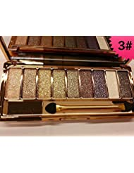 JGB 9 Colors Diamond Bright Colorful Makeup Eye Shadow Palette Set Flash Glitter Eyeshadow with Brush,6 Edition … (3)
