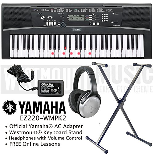 yamaha-ez-220-key-lighting-keyboard-including-ac-adapter-westmountr-stand-headphones-and-free-online