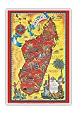 Madagascar - Carte - Île d'Afrique - Carte Graphique picturale Vintage de Maurice Tranchant c.1952 - Reproduction Professionelle d'art Master Art Print - 33cm in x 48cm...