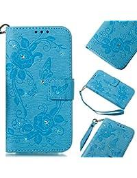 """Handy hülle Tasche Leder Flip Case Brieftasche Etui Schutzhülle für Apple iPhone X XS iPhone XR iPhone XS MAX hülle Blumen Schmetterling,8 Farben (iPhone X/XS(5,8""""), Himmelblau)"""
