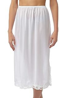 Socks Uwear Ladies Elasticated Waist Half Slip Petticoat with Pretty Lace Trim 25 Long