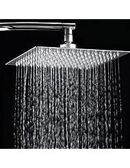 Bluelover Cabezal rociador superior 12 pulgadas 2mm fina a presion rotativo lluvia ducha cuadrado acero inoxidable