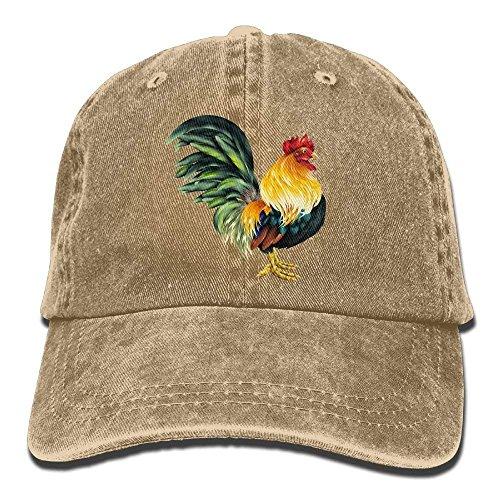 Hoswee Unisex Kappe/Baseballkappe, Lifelike Rooster Denim Baseball Caps Hat Adjustable Cotton Sport Strap Cap for Men Women