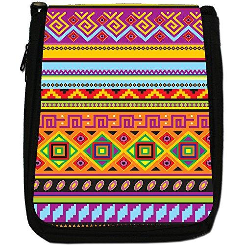 Tradizionale con motivo tribale azteco messicano per borsa a tracolla in tela, colore: nero, taglia: M Nero (Orange Purple Yellow Geometric)