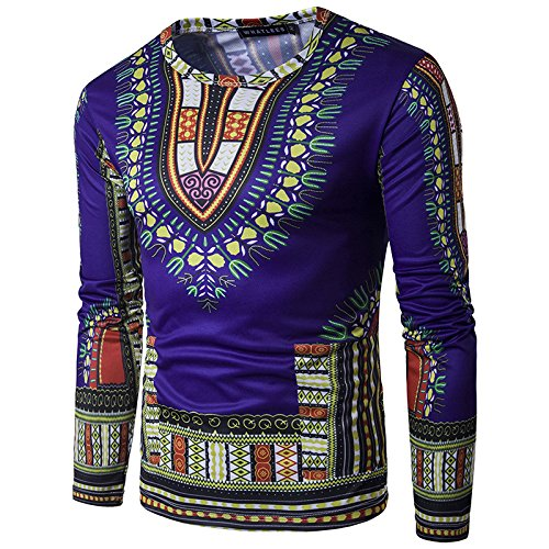 Traditionelle Dashiki (Swallowuk Herren Afrika National Stil Tops Tribal Hemd Gedruckt Lange Ärmel Dashiki (XXL, Dunkelblau))