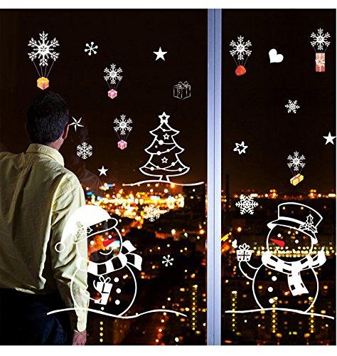 Atiehua Wandtattoos Aufkleber Weißer Schneemann Weihnachten Neujahr Wohnzimmer Schlafzimmer Glas Fenster Hintergrund Dekorative Wandaufkleber Xl701