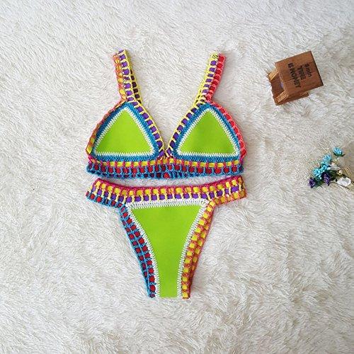 Jiayiqi Super Vogue Boho Bikini Set 2 Stück Brasilianischer Badeanzug Für Frauen Apfelgrün