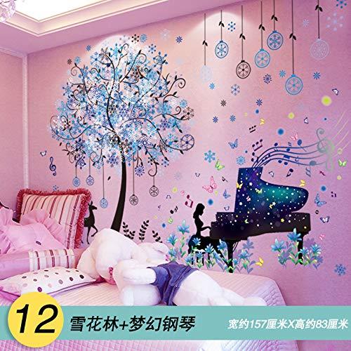 ouyalis 3D Stereo Wallpaper Selbstklebender Schlafzimmeraufkleber, 12 Snowflake ForestDream Piano, Extra groß