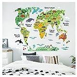 Adesivi Murali Cameretta Mambain Adesivi Murali Cucina Animale Mondo Mappa Rimovibile Decalcomania Arte Murale Casa Decor Adesivi Murali 95X73Cm