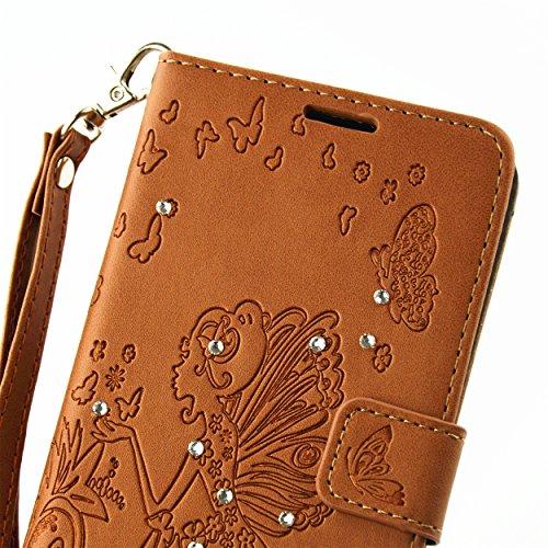 für Smartphone P9 Lite Hülle,Hochwertige Kunst-Leder-Hülle mit Magnetverschluss Flip Cover Tasche Leder [Kartenfächer] Schutzhülle Lederbrieftasche Executive Design +Staubstecker (7AA) 7