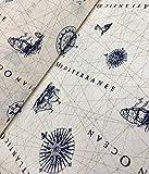 Nautical Marine Landkarte Print Stoff–Vorhang