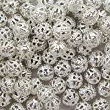 "k2-accessories 100 Silver Plated Filigree Beads 6Mm - ""Pretty Hollow Spacer Beads"" - A6751"
