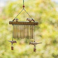 ExclusiveLane Bird Collection Wooden Handmade Decorative Hanging with Hand Burnt Design - Door Hanging Wind Chimes Home Decoration Item