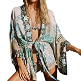 Frauen Floral böhmischen Chiffon Beach Kimono VENMO Cardigans Bluse Vertuschungen Boho Sommerkleid Beach Cover up Leicht Tuch Strand Strickjacke Hemd Strand Umhang Bikini bedecken Spitze Kimono (Multicolor, L)