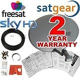 Satgear Sky/Freesat New Zone 1 Satellite Mini Dish HD Kit with Quad LNB, 30m Twin Cable and Brackets