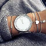 Kercisbeauty 4 handgefertigte Sommer-Armreifen, Pfeil- und Herzform, graue Seil, silberne Perlen, verstellbare Armreifen, Handkette, Geschenk für sie, Party-Accessoires, Geburtstag