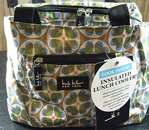 nicole-miller-of-new-york-insulated-lunch-cooler-circle-flower-tan-11-lunch-tote-by-24-7-internation