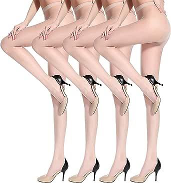 ANDIBEIQI 4-Pair Calze da donna 15D calze da olio calze di seta lucenti calze da danza collant plus size 140~270 lbs