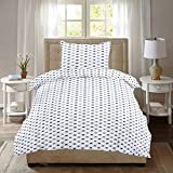 Ahmedabad Comfort 160 TC Cotton Single Bedsheet with Pillow Cover - Geometric, White and Grey