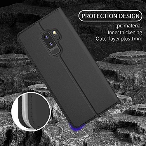 Samsung Galaxy S9 Plus Funda Ultra delgado cierre magn  tico Faux Cuero Billetera Funda para Samsung Galaxy S9 Plus con Stand Funci  n Negro