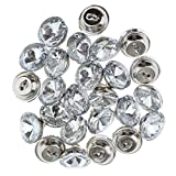 #8: Segolike 25 Pieces Crystal Buttons for Sofa Headboard Upholstery Decoration - silver, 16mm