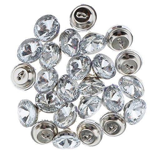 Button Kopfteil (MagiDeal 25 Stück Crystal Buttons Diamant Kristall Moebelknopf für Sofa Kopfteil Polsterung Dekoration - Silber, 16mm)