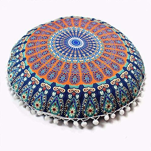 Aiserkly Indian Mandala - Almohadas étnicas Redondas Bohemias para decoración del hogar,...