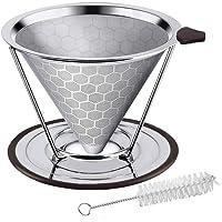 Gobesty Filtre à café, filtre à café sans papier avec pinceau Cup Cleaner et support antidérapant pour 4 tasses
