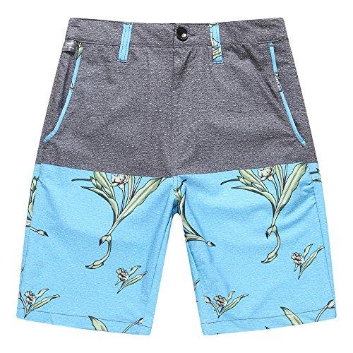 Ropa-de-playa-para-hombre-Pantalones-cortos-con-bolsillo-en-gris-slido-con-pjaro-azul-del-paraso-42