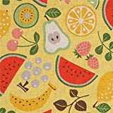 Kokka Gelbes Leinwandgewebe mit Zitrone Birne Wassermelone