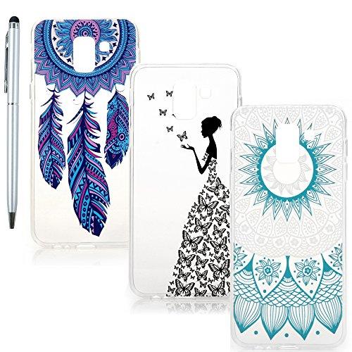 Vogu'SaNa Handyhülle Compatible für Samsung Galaxy J6 2018 Hülle Case Cover Transparent Silikon Slim Tasche Durchsichtige Schutzhülle Handytasche Skin Softcase Schale Bumper Handycover*3 Mädchen-Set5
