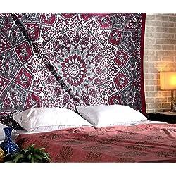 Gama Tapiz barato. Tapices de Mandala Pared - Bohemio Hippie - Rojo - 213 x 137 cm