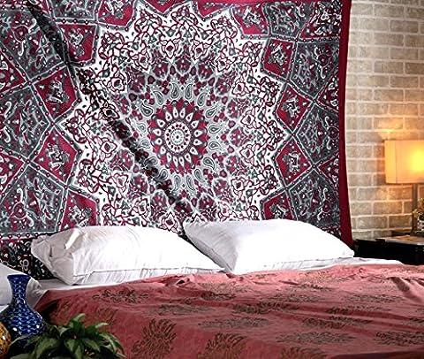 Tenture Murale Hippie Boheme Indienne Tapisserie Murale Mandala Tissu Déco Mural Ethnique Bohemian Tapestry by Rajrang
