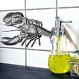 Boubouki Wasserabweisende Fliesenaufkleber Lobster (Poster) für Bad und Küche | 15 x 15 cm, Opaque
