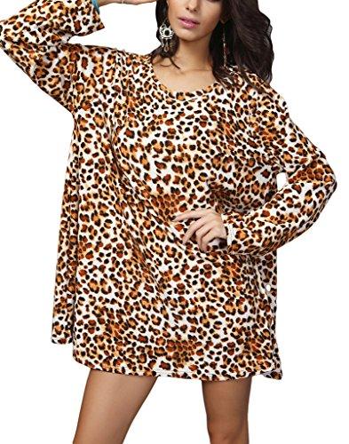 Bigood Mini Robe Grande Taille Femme Chemise Blouse T-shirt Tops à Manches Longues Col Rond Mode Léopard