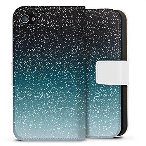 Apple iPhone X Silikon Hülle Case Schutzhülle Glitzer Glitter Muster Sideflip Tasche weiß