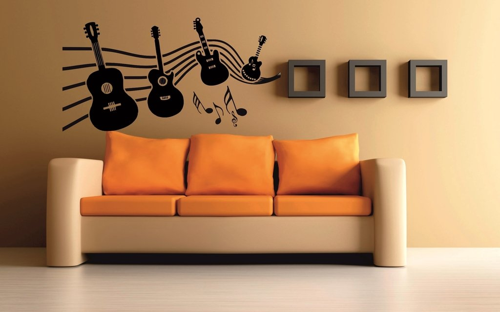 meSleep Music Of Guitar Design Black Wall Sticker Amazonin Home
