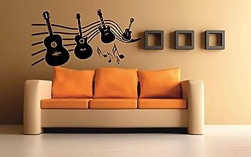 meSleep Music Of Guitar Design Black Wall Sticker Amazonin Home