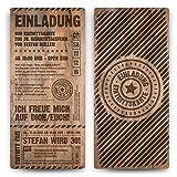 30 x Geburtstag Einladungskarten Eintrittskarten Geburtstagseinladungen Ticket Einladung - Grunge / Holz