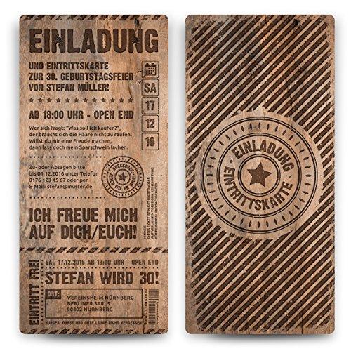 30 x Geburtstag Einladungskarten Eintrittskarten Geburtstagseinladungen Ticket Einladung - Grunge / Holz -
