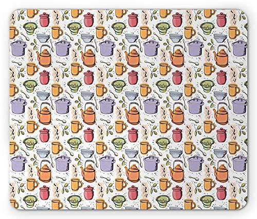 Retro Mouse Pad, Vintage Colorful Kitchenware Pot Mug Jar Utensils Retro Design Print, Standard Size Rectangle Non-Slip Rubber Mousepad, White Purple Orange Red Rosa Utensil