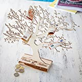 Geldbaum aus Holz mit Gravur – Personalisiert mit [NAMEN] – Motiv Ringe – Foto-Baum – Geld-Geschenke Verpackung zur Hochzeit – 40 cm hoch – Groß
