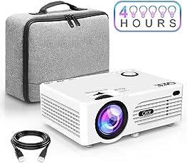 QKK Beamer 2400 Lux, Mini Beamer mit tragbarer Tasche, unterstützt 1080P Full HD, Kompatibel mit Fire TV Stick, PS4, Xbox, Chromecast, HDMI, VGA, SD, USB, Heimkino Entertainment, Weiß.