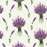 Tela 'ramitas y ramos de lavanda' - blanco crema / crudo (color de fondo) - 100% algodón suave | ancho: 160cm (1 metro)