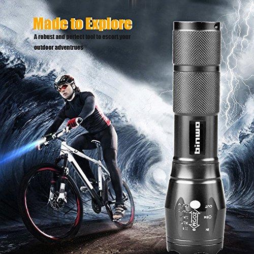 Binwo Super Helle CREE LED Taschenlampe 2000 Lumen, 5 Modis Einstellbar, Wasserdicht Taschenlampen für Outdoor Sports -